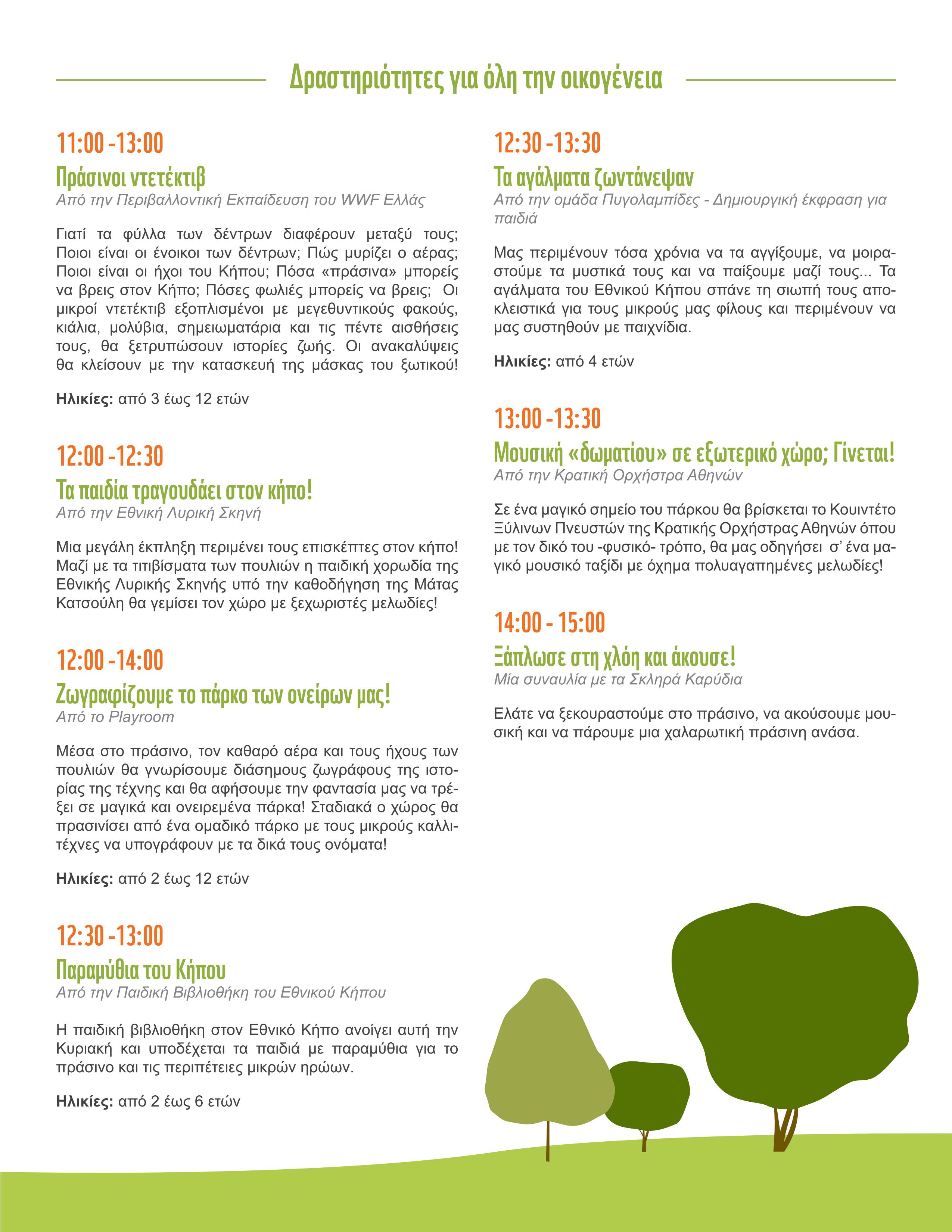 GreenSpaces_πρόγραμμα Εθνικός Κήπος